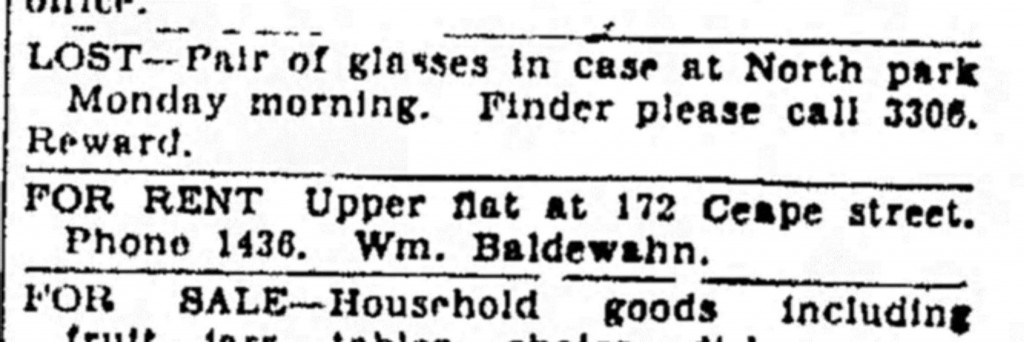 1920 ad for rent for the upper apartment in the new home at 172 Ceape Street, Oshkosh.