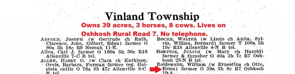 From the 1920 Viland director, William Boldewahn owns 30 acres, 3 horses and 8 cows. No telephone.
