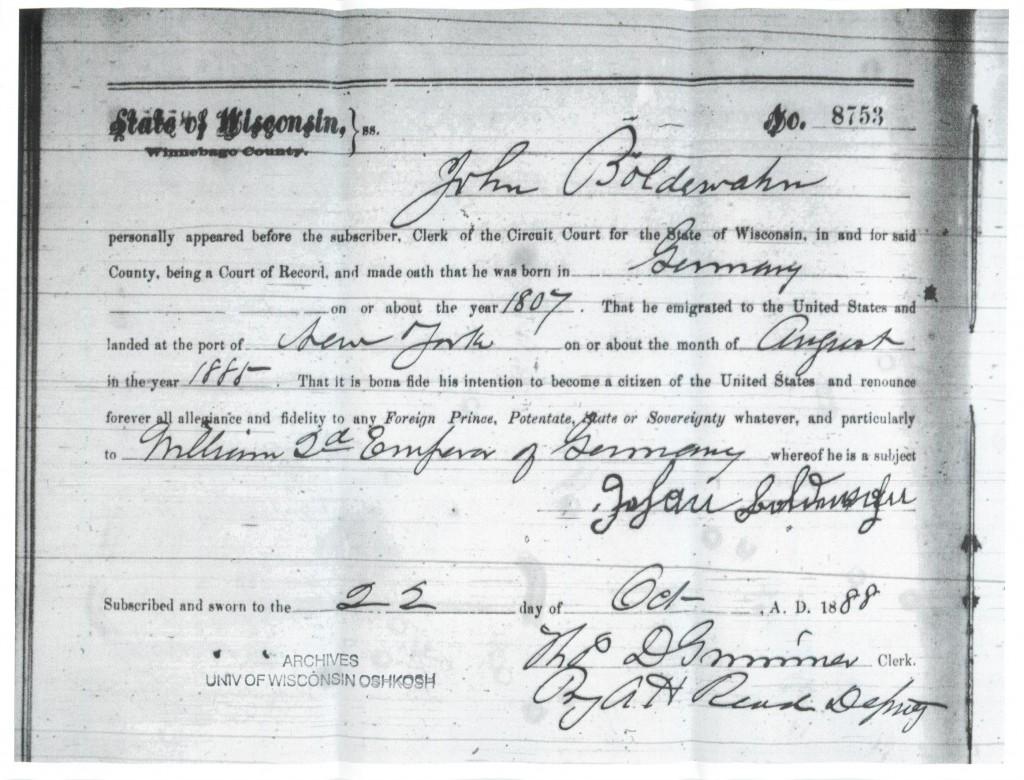 John Boldewahn Naturalization Declaration 1888