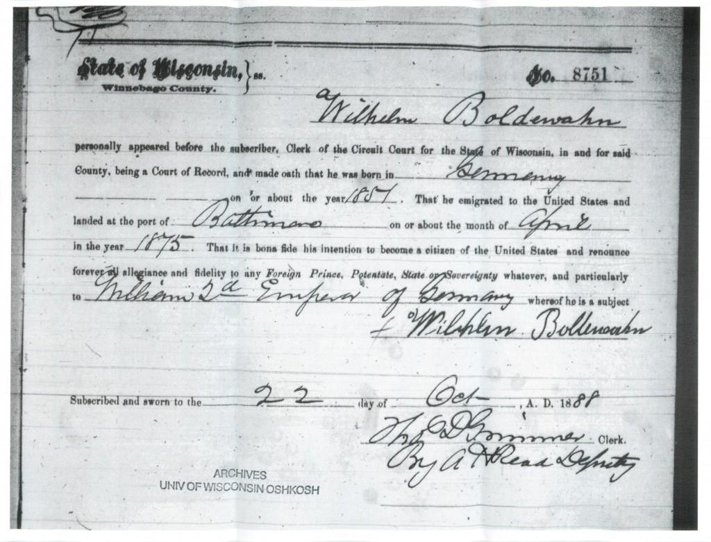 Wilhelm Boldewahn Naturalization Declaration 1888